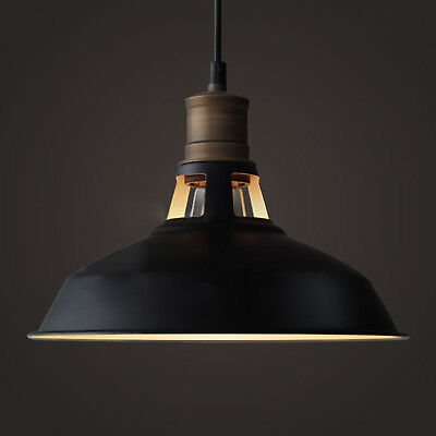 Antique Industrial Barn Hanging Pendant Light with Metal Dome Shade, Matte Black