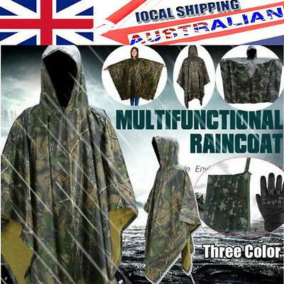Hooded WATERPROOF PONCHO Rain Coat Jacket Hunting Army Military Fishing 3 Color