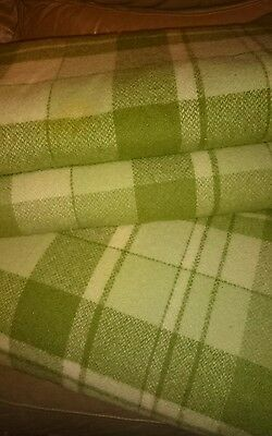 """Pair (2)Vintage """"Laconia"""" Large Double Bed  Pure Wool Green Check Blankets"""
