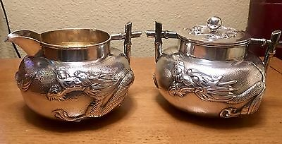 Antique WANG HING  Silver Chinese Export Cream Jug And Sugar Bowl wDragon