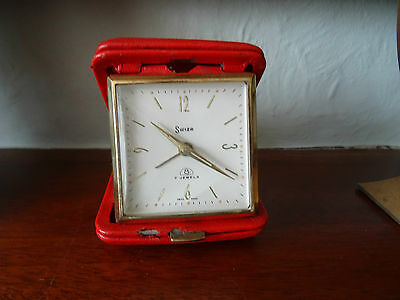 Vintage Swiza 8 Day 7 Jewels Travel Alarm Clock, Fully Working, Red Leather Case