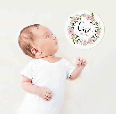 Round Baby Milestone Cards. Monthly Pack of 13 Baby Girl Cards. Brand New!