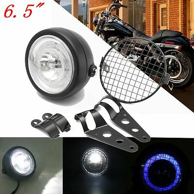 6.5'' 12V Faro Anteriore Griglia Headlight Custom W/ Bracket Cafe Racer Moto