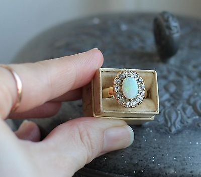 Antique Opal And Diamond Cluster Ring