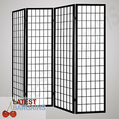 4 Panel Room Divider Folding Privacy Screen Partition Wooden Timber Home Black