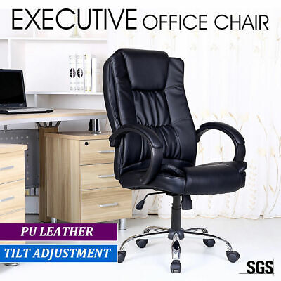 New Executive Premium PU Faux Leather Office Computer Chair Black 27