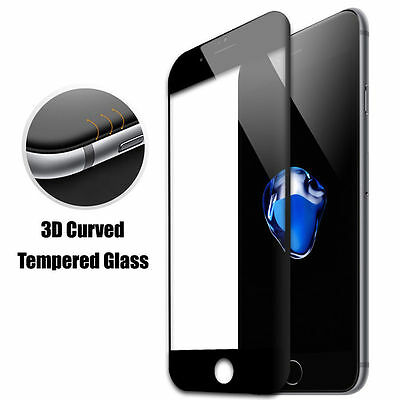 Black Full Cover Tempered 3D Curved Screen Protector For iPhone 7 {me38
