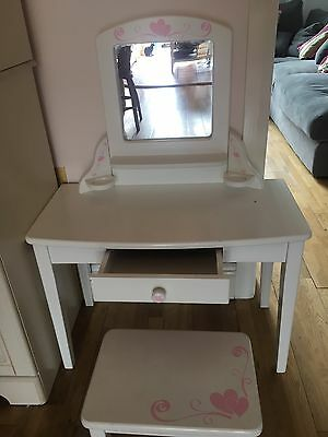 Girls small dressing table, white wooden with small stool.