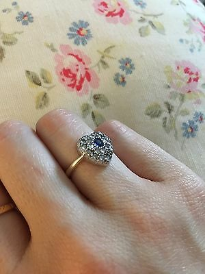 Victorian Rose Cut Diamond And Sapphire Heart Ring