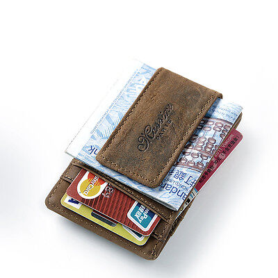 Teemzone Crazy Horse Leather ID Card Cash Holder Magnetic Money Clip Wallet