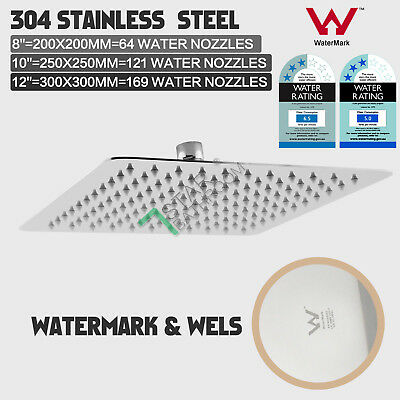 """8""""/10""""/12"""" Square Ultra-thin Stainless Steel Rainfall Shower Head WATERMARK WELS"""