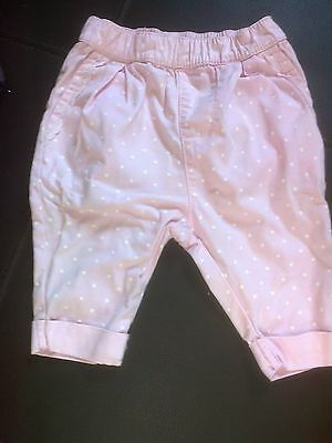 Baby girl pink with white dots pull on trousers by mothercare upto 10lbs