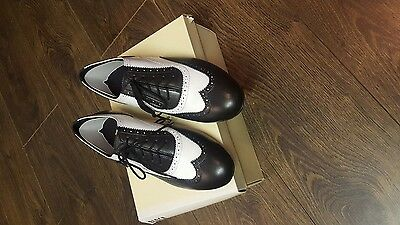 mens ballroom dance shoes new blk/white capone bloch size 7 1/2 uk