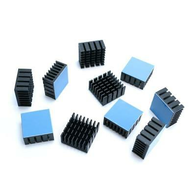 10PCS 20x20x10mm Radiating Black Fin Heat Sink w/ adhesive pads CPU LED Cooling