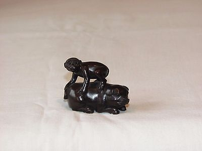 Vintage Japanese Carved Wooden Netsuke. Pig and a Monkey