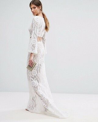 Jarlo White Lace Long Sleeve Cut Out Evening Dress With Train Size 10