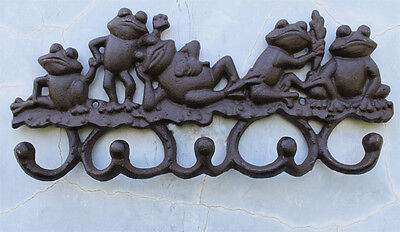 CAST IRON Frog Toad Coat Hat Towel Hooks Key Rack Hanger Farm amphibian Ornament