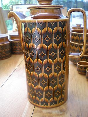 Hornsea Pottery Heirloom Pattern Large Coffee Pot Glazed in Autumn Brown