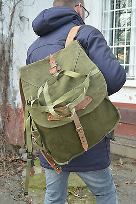 Vintage Army Backpack with WEBBING, Heavy Duty Canvas Rucksack