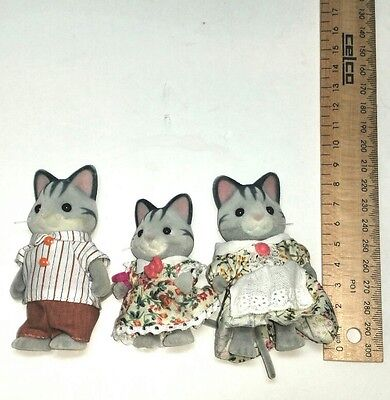 3 Sylvanian Families Grey cat family toy doll figures Epoch Vintage 1985 1980s
