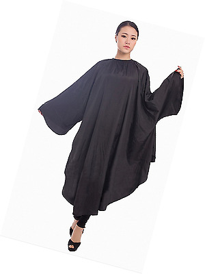 Salon Hair Cutting Gown, Barber Hairdressing Coloring Cape with Sleeves - Black