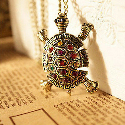 New Cute Crystal Bronze Alloy Turtle Pendant Long Necklace Sweater Chain
