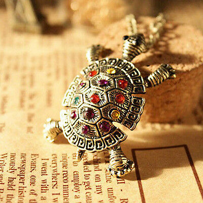 Hot New Lady Crystal Bronze Alloy Turtle Pendant Long Necklace Sweater Chain