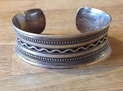 925 Sterling Silver Hallmarked Thick Patterned Chunky Cuff Torque Bangle