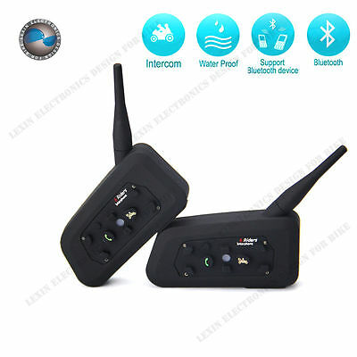 2 x Pack Up to Pair 6 Riders Bluetooth Motorcycle Interphone Universal Headset