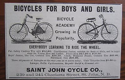 1893 Canadian Bicycle Ad Bicycle Academy Bike St John New Brunswick Cycle Co
