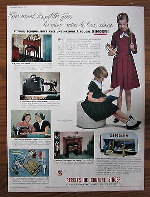 Rare 1949 Canadian French Singer Featherweight Sewing Machine Ad Canada Kids