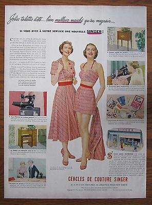 Rare 1950 Canadian French Singer Featherweight Sewing Machine Ad Swim Suit
