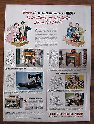 Rare 1950 Canadian French Singer Featherweight Sewing Machine Ad Christmas