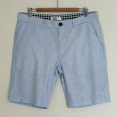 New Men's Linen Blended Shorts Walk Shorts Regular Fit Light Blue Size 32
