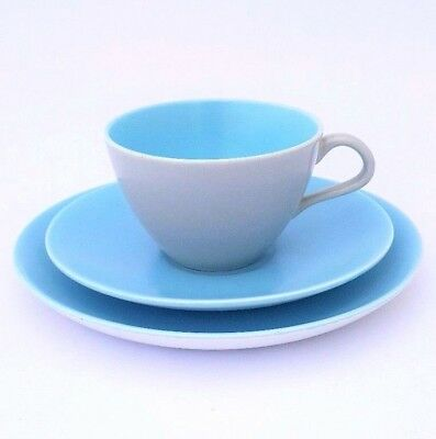 Poole Twintone Dove Grey and Sky Blue Saucer & Side Plate Trio