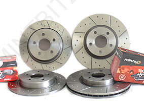 Volvo 850 2.3 T5 93-96 Front Rear Brake Discs+Pads Dimpled & Grooved