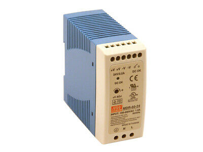 Meanwell 60W Din Power Supply 24Vdc Mdr-60-24