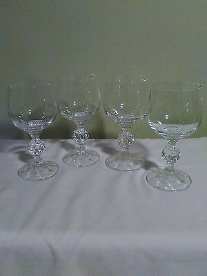 Bohemia Crystal Wine Glasses 4 Cut Crystal Ball Shape On Stem All Ping - No Box