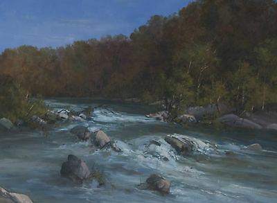 Chris Kandis 1966- Large Australian Oil Painting Buffulo Rapids Trees SFAA