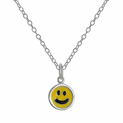 Sterling silver yellow enamel smiley face pendant on chain 14 22 sterling silver yellow enamel smiley face pendant on chain 14 22 inches aloadofball Choice Image