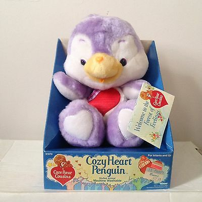 "Vintage Care Bear Cousins - ""Cozy Heart Penguin"" - NOS Still On Box - 80's Gold!"