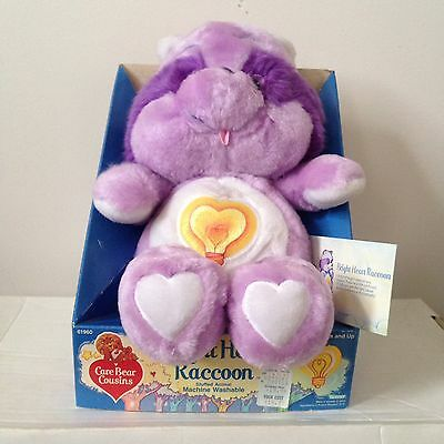 Vintage Care Bear Cousins - Bright Heart Raccoon - NOS Still On Box - 80's Gold