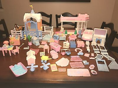 Huge Vintage Playskool Dollhouse Furniture And Accessories Lot of 97