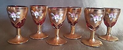 Set of Six Venetian Ruby Chalices