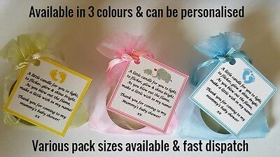 Baby Shower Favours Candle Tea Light  Blue Pink Yellow Guest Thank You Gifts