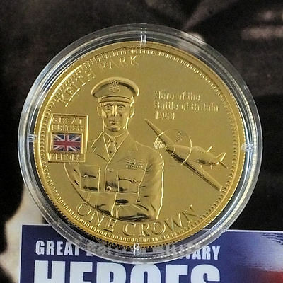 2010 Great British Military Heroes  - Douglas Bader Golden Crown Coin + Coa