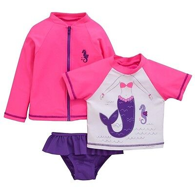 Girls 3 Piece Swimsuit 12-18 Months UV Sun Protection Sunsafe Set NEW BNWT