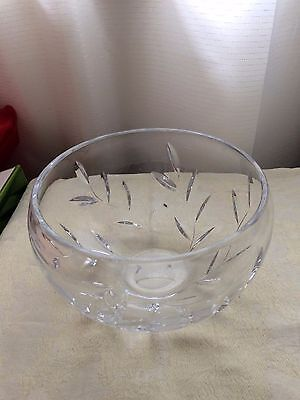 Royal Doulton Crystal Bowl with cut Leaf Pattern.