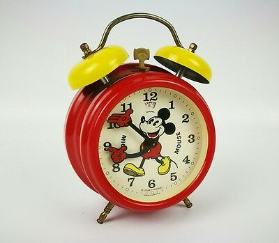 Disney Mickey Mouse Yellow & Red Avronel Wind-up Alarm Clock with moving hands
