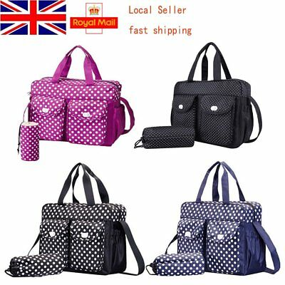 UK 3pcs Set Waterproof Mummy Shoulder Cossbody Handbag Baby nappy changing bags